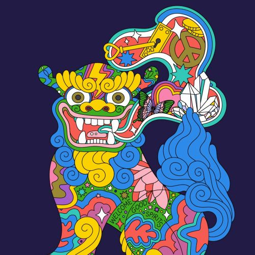 shisadog, shisa, japaneseart, japan, magical, mystical, lucky, aapi, asian american illustrator