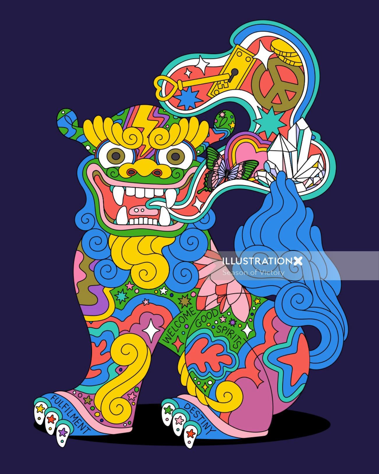 shisadog, shisa, japaneseart, japan, magical, mystical, lucky, aapi, asian american illustrator