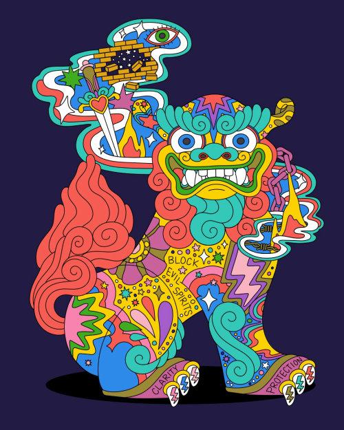 cachorro, shisadog, shisa, okinawa, okinawana, cachorro shisa okinawana, aapi, ilustrador asiático-americano