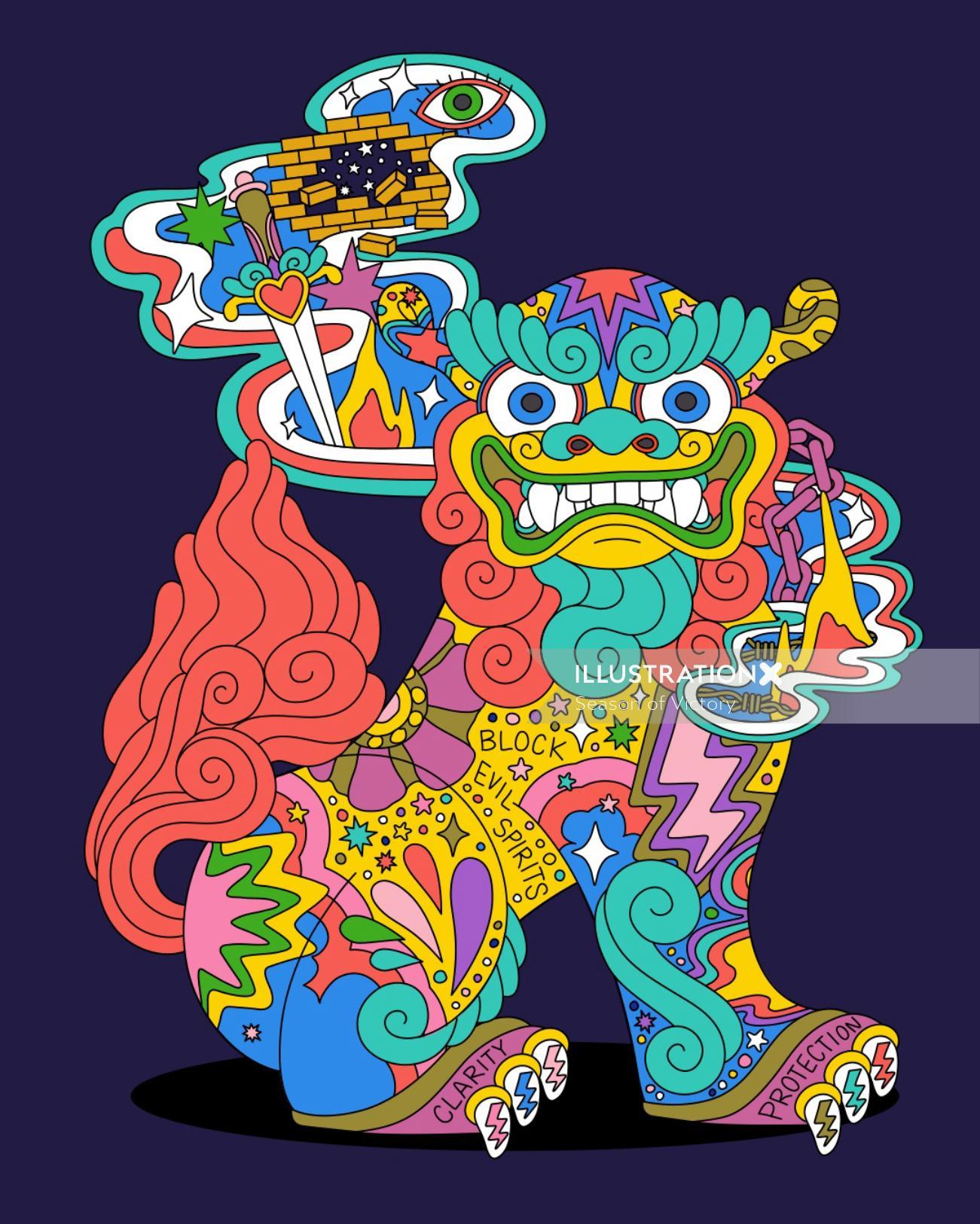 dog, shisadog, shisa, okinawa, okinawan, okinawan shisa dog, aapi, asian american illustrator