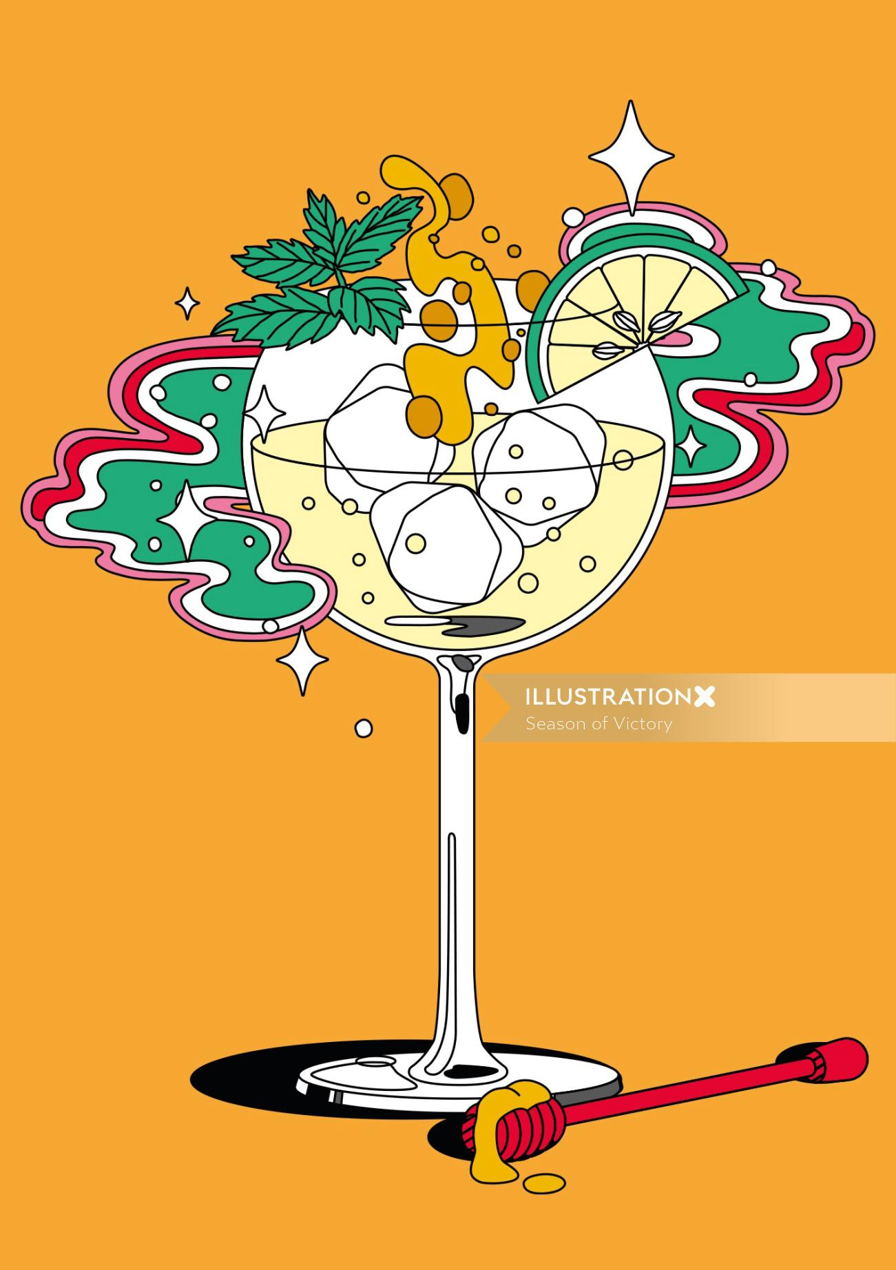 food & drink, food and beverage, gin, wine, gin illustration, spirits, editorial art, spot art, spot