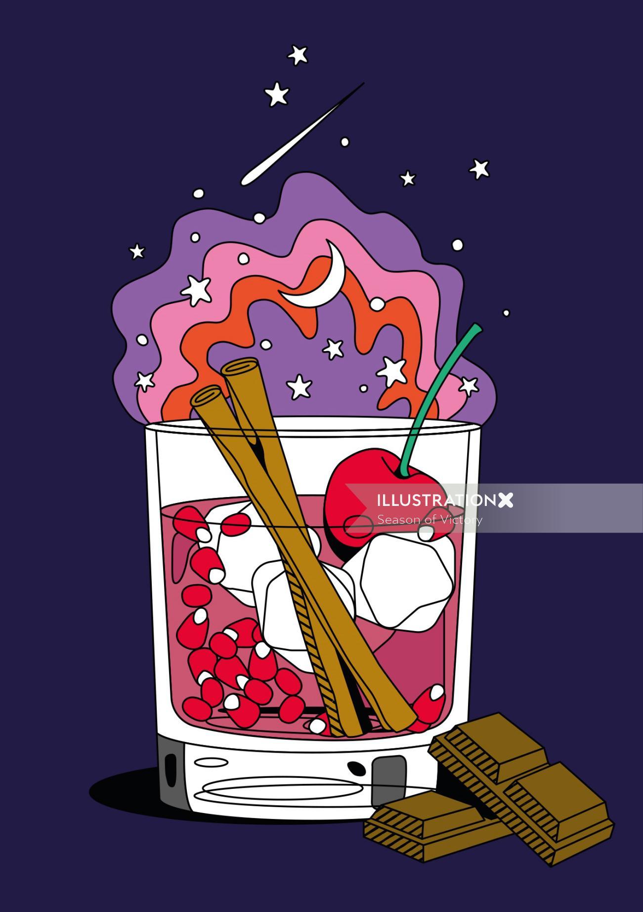 food & drink, food and beverage, gin, wine, gin illustration, spirits, editorial art, spot art, spot