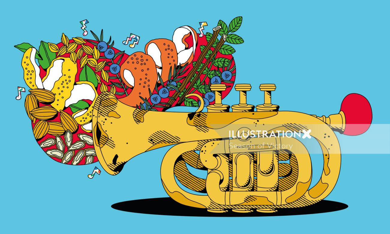 trumpet, fruit, gin, beefeater gin, nuts, trumpet, instrument, music, musical instrument, gin, food