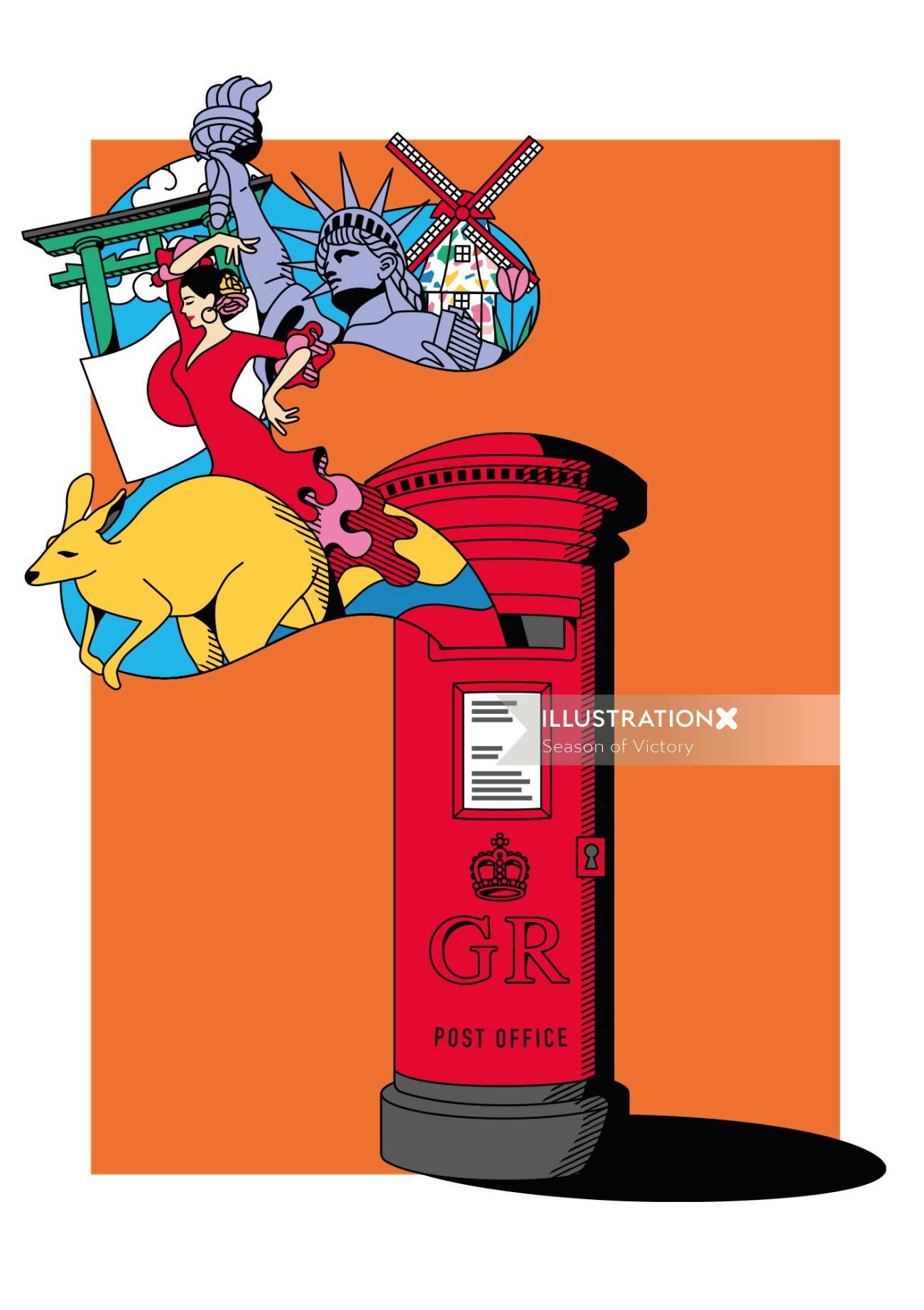 post, postbox, travel, trip, holiday, beefeater gin, gin, japan, spain, australia, holland, mail, po