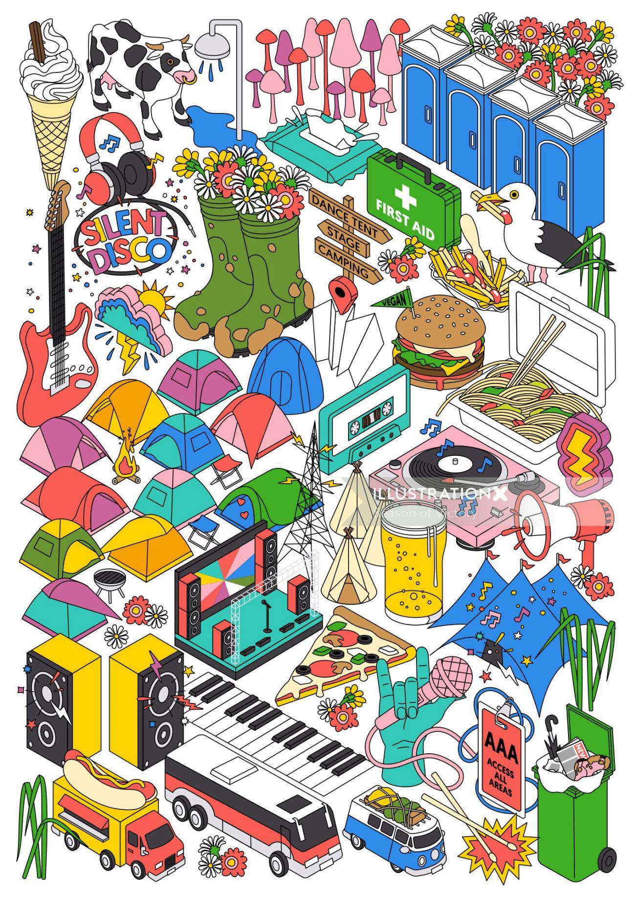 festival, music festival, food festival, food, summer, beach, isometric illustration, isometric map,