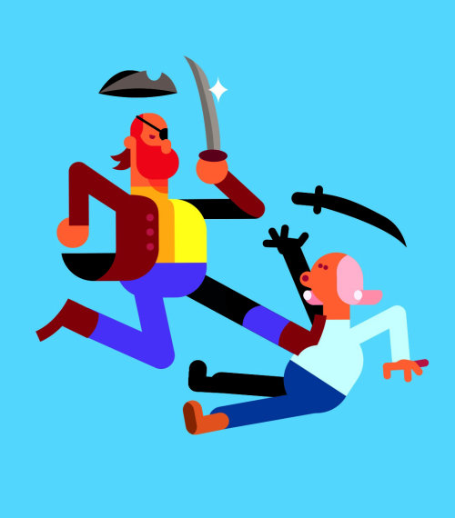 People pirates fighting