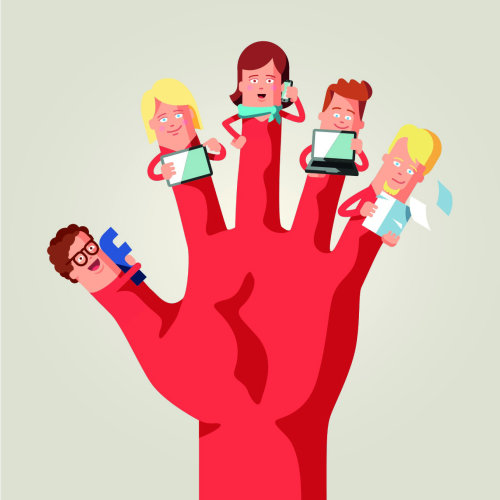 Graphic hand with children fingers