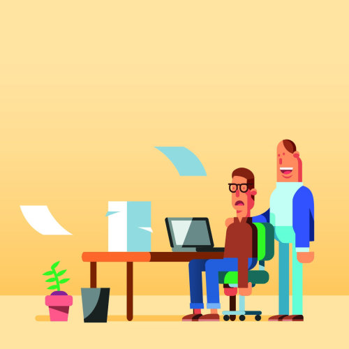 Graphic people at office desk with laptop