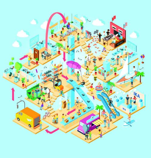 Graphic art of city mall