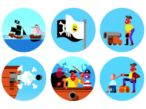 Graphic icons of pirate