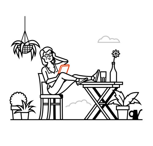Line art of girl sitting on a chair