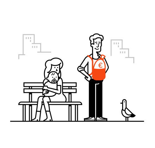Line art of family with bird
