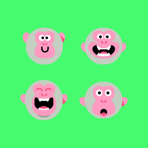 Graphic facial expressions of monkey