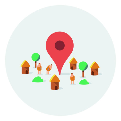Graphic location icon with huts