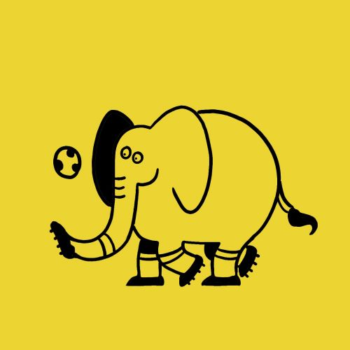 Character design Elephant playing with ball