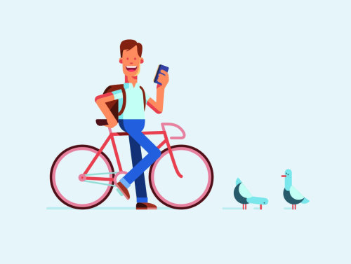 Graphic man on bicycle