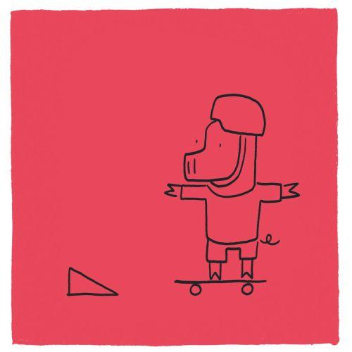 Line art animation skateboard