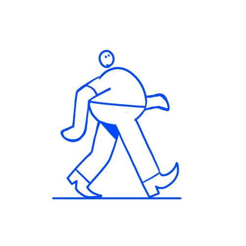 Line art animation walking man