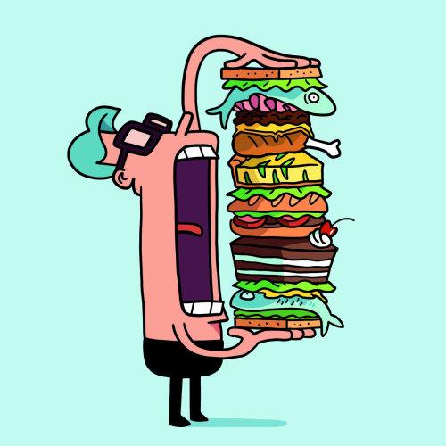 Graphic man with big burger