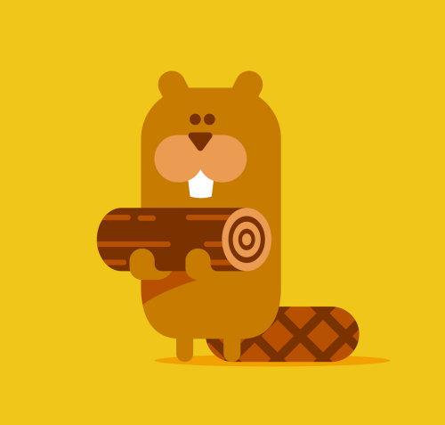 Animals Bear with log