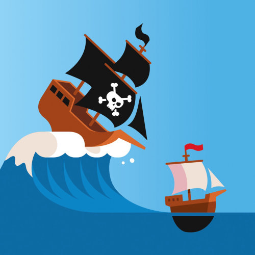 Graphic pirate ship on high wave
