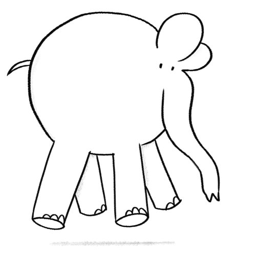 Black and white vector elephant anime