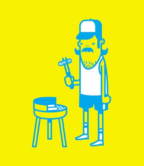 Graphic man baking hot dog