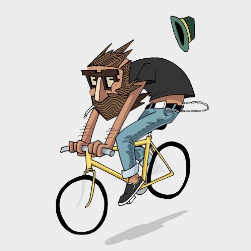 Bicycle riding, fashion illustration