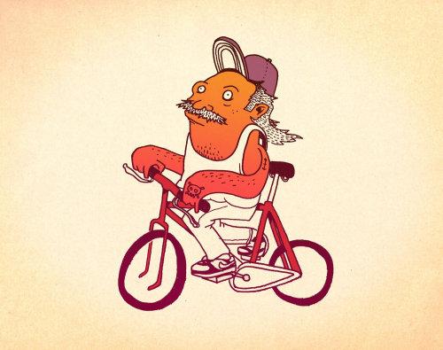 Graphic man riding bicycle