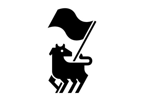 Black and white animal with flag