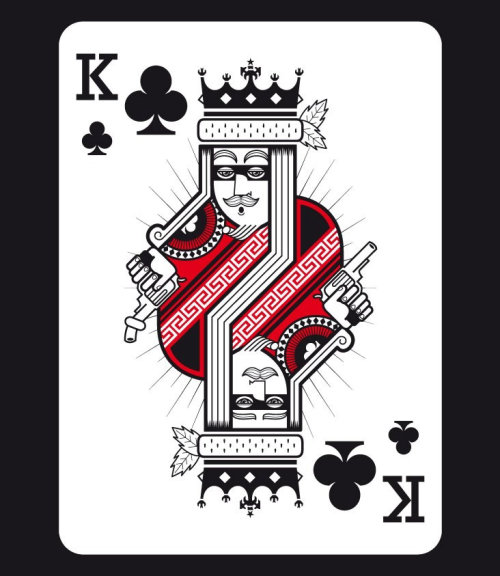 Graphic art of King with gun