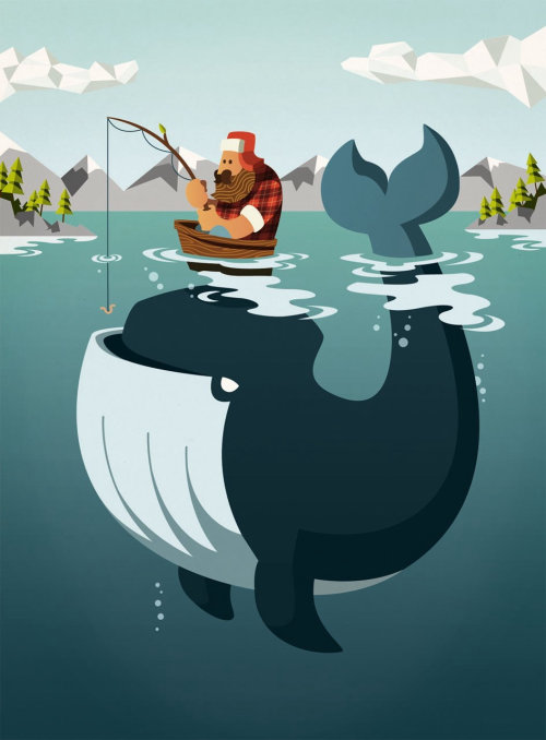 Graphic man fishing with whale