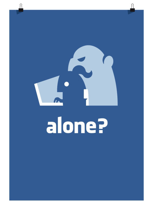 Vector illustration of alone life