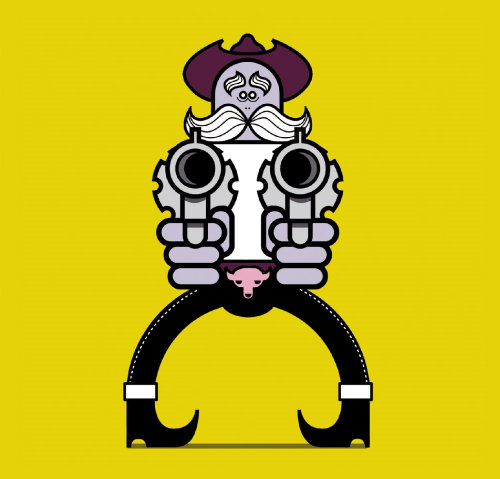 Graphic man with guns