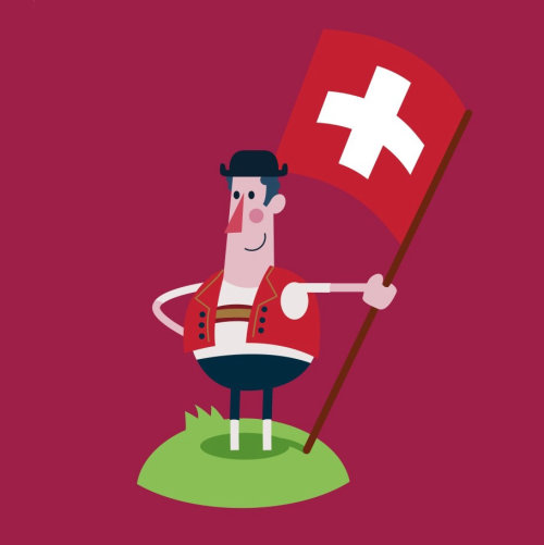 Graphic man standing with Medical flag