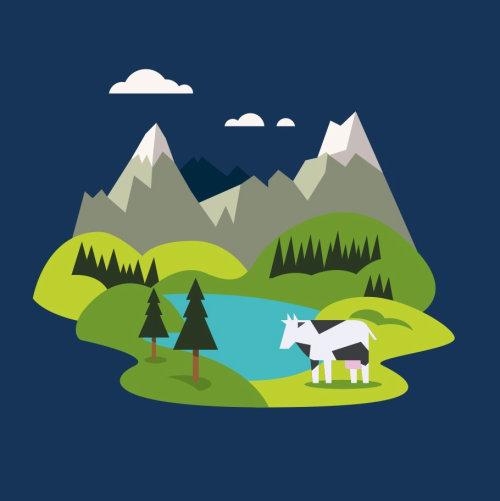 Graphic cow near lake