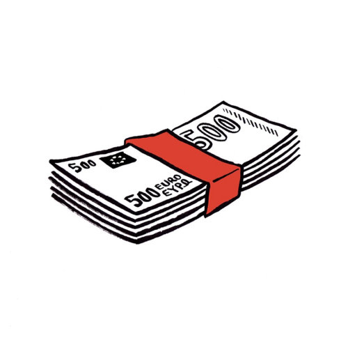 Black and white money bundle