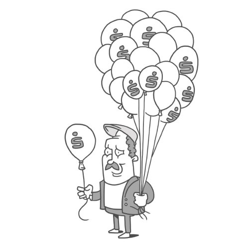Black and white man with balloons