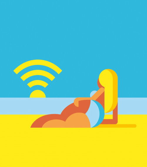 Graphic girl at the beach with wifi sun
