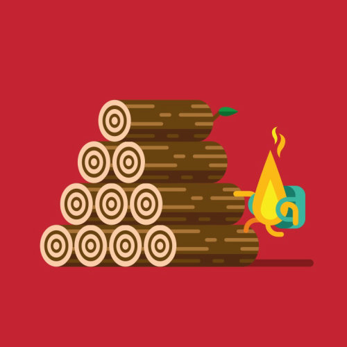 Graphic fire and logs