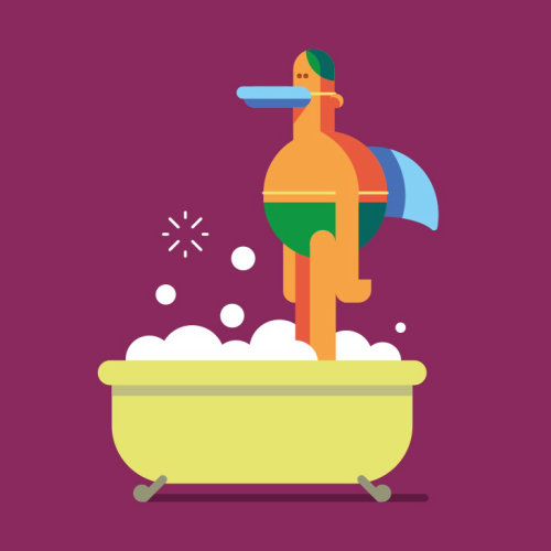 Graphic duck boy in bath tub