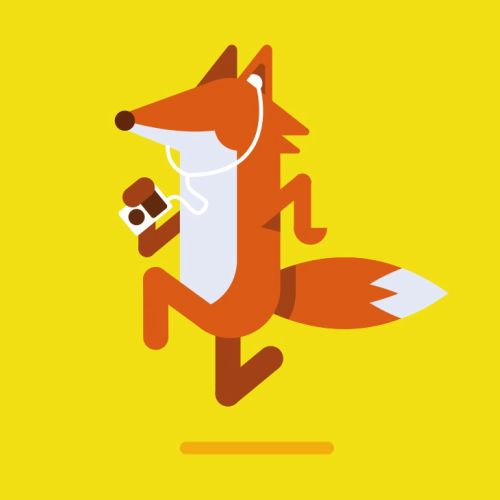 Fox listening to music vector art