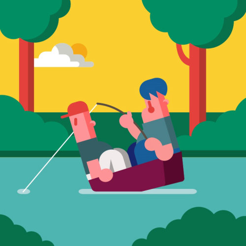 Graphic people fishing in small boat
