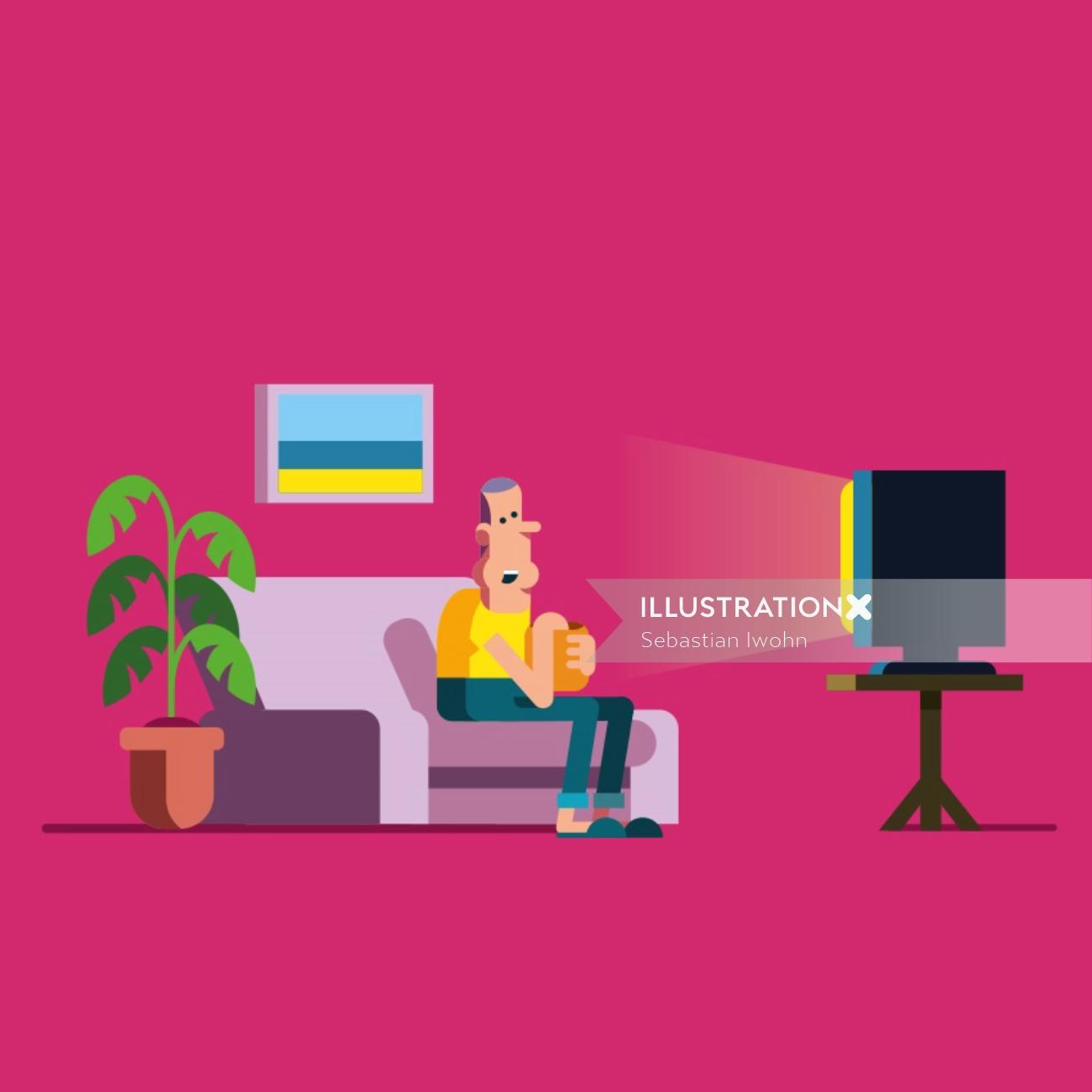vector illustration of old man watching TV