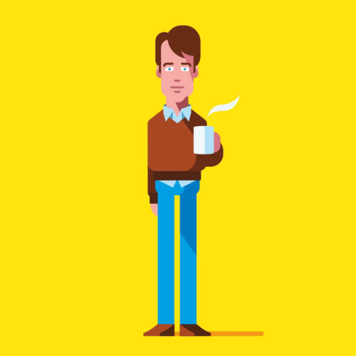 People man with hot coffee