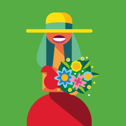 Graphic Bride with flowers