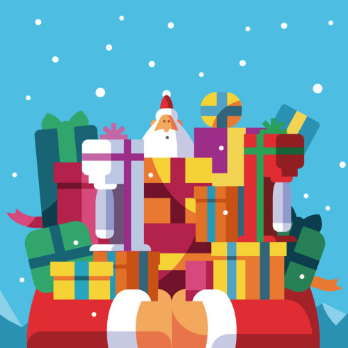 Graphic santa with gifts