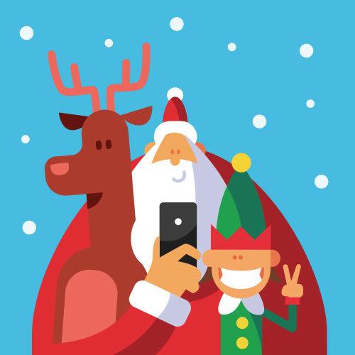 Graphic santa reindeer in christmas