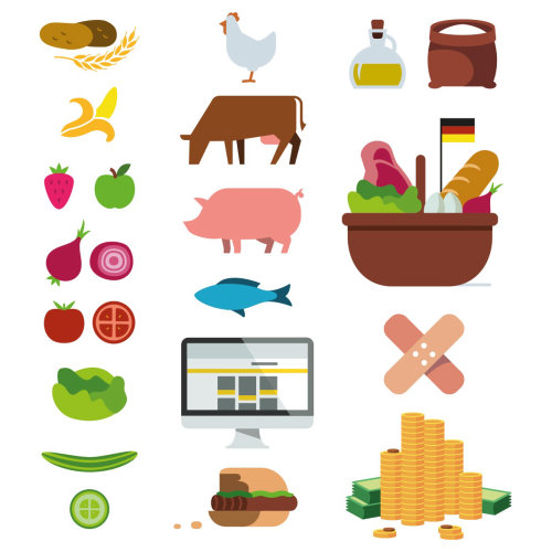 Graphic icons of food