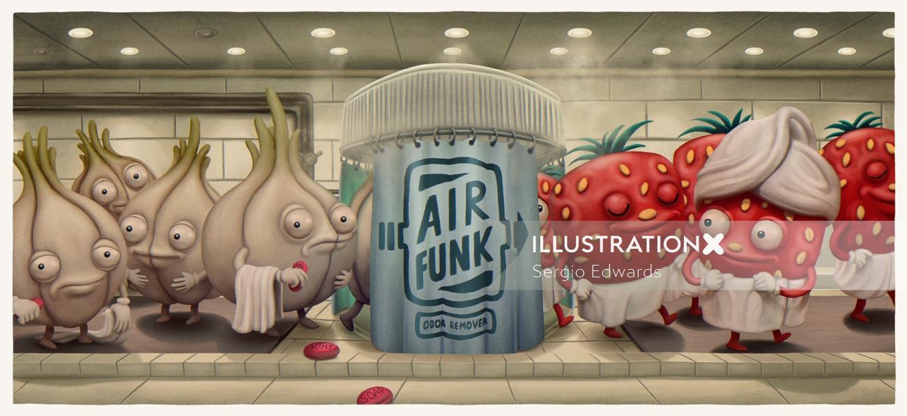 Humorous cartoon characters of Air Funk Odor Remover